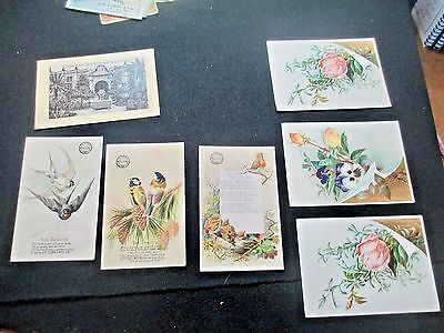 "SEVEN c1900 Antique JERSEY Coffee&CLARKS THREAD Trade Cards Birds Flowers3x5"" 4"""