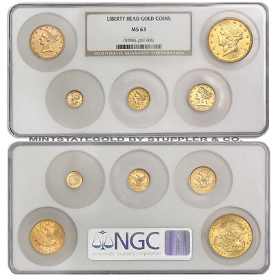Set of 5 1854-1904 Gold Liberty Heads NGC MS63 choice coins $1 $2.50 $5 $10 $20