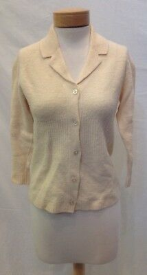 Vtg 1950s Cream Wool Knit Sporty Casual Cardigan Sweater Womens M Varsity Cut