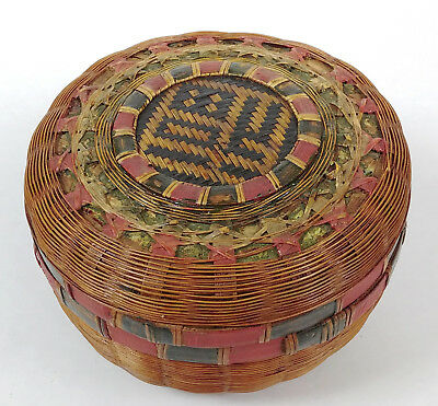 RARE SMALL ANTIQUE Chinese TEA Sewing Basket Betty-Lou Collection Painted 105