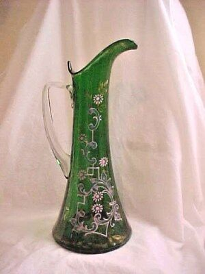 Antique Hand Blown Green Glass Pitcher with Painted Floral Decoration