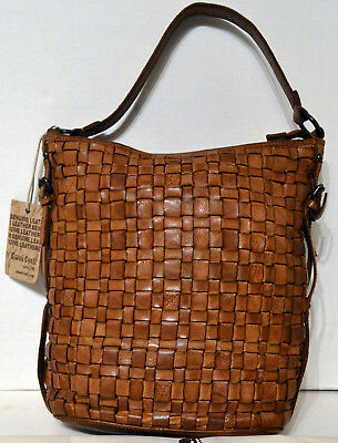 50b4f1f7163 Gianni Conti Made in Italy Shoulder X-body Leather Weaved Bag Handbag Brown  NWT