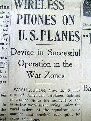 1918 WW I newspaper INVENTION of AIRPLANE TO GROUND COMMUNICATIONS 1st revealed