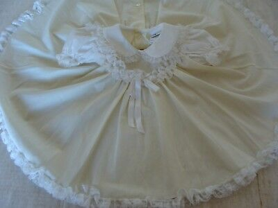Vtg BRYAN Little Girl Dress Full Circle Floral Lace Ruffle Bow Toddler 2T 24mo