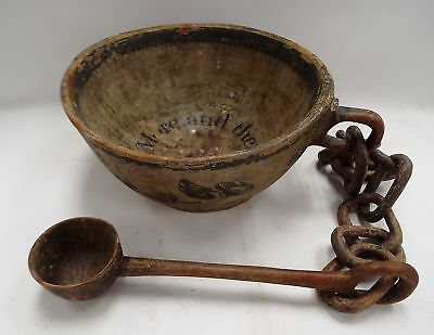 Vintage Hand Carved WOODEN BOWL With Spoon On Chain - B83
