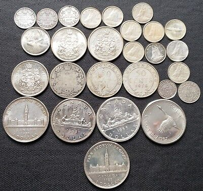 Lot of 27x Canada & Newfoundland $1, 50 Cents, 25 Cents, 10 Cents Silver Coins