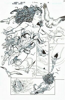 Wonder Woman Splash Orig. Ink Art-2017 Sergio Davila/ Scott Hanna-Free Shipping!