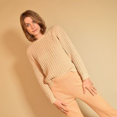Vtg 70s ecru thick RIBBED KNIT cropped MINIMALIST union made sweater blouse top