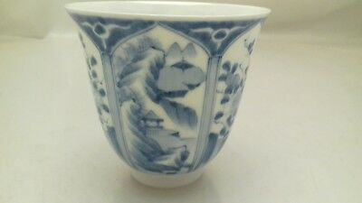Chinese Blue White Panels Fine  Porcelain Tea Bowl Beaker 6 Character Mark