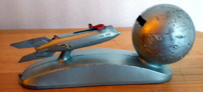 "Rare Space Age ""Shoot The Moon"" Strato Rocket Ship Mechanical Bank"