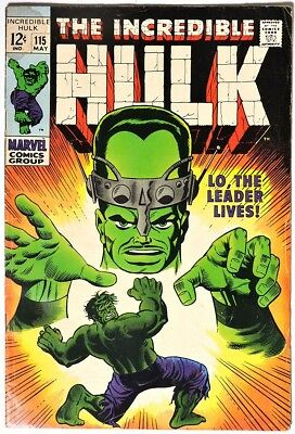 S284. THE INCREDIBLE HULK #115 Marvel 4.0 VG (1969) SILVER AGE, STAN LEE Story `
