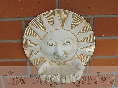 Sun and hands wall plaque garden ornament cement concrete latex moulds molds