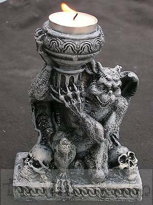 Gargoyle gothic skulls candle holder cement plaster craft latex moulds molds