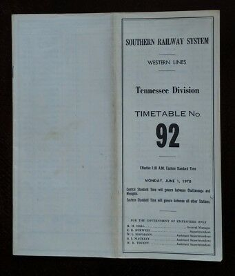 Southern Railway 1970 Tennessee Division Employee TT -Birmingham Special
