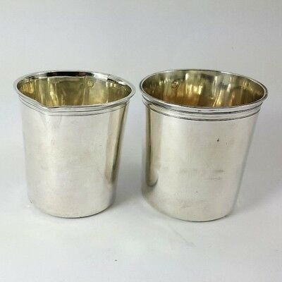 Antique FRENCH BEAKER CUP GOBLET pair HALLMARKED Circa 1800 SOLID .950 Silver