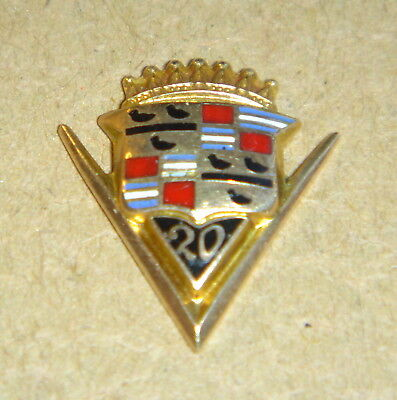 Vintage CADILLAC 20 Year Service Pin Gold Enameled Screw Back
