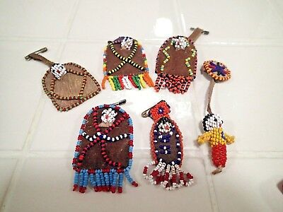 Vintage Native American Small Beaded Leather items Northeast Handcrafted