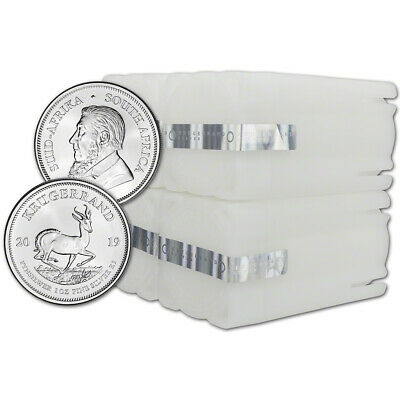 2019 South Africa Silver Krugerrand 1 oz 1 Rand - 100 BU Coins in 4 Mint Tubes