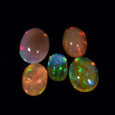 5pc Lot 3.16ct t.w Oval Cab Natural Play-of-Color Crystal Opal, Best For Jewelry