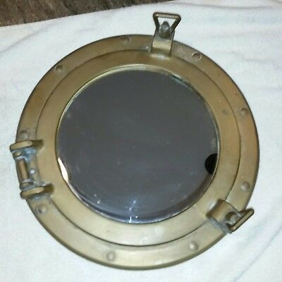 12 Inch vintage porthole  Brass Mirror in working condition