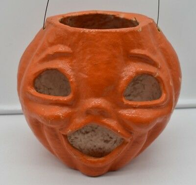 Vintage Halloween Jack O Lantern- Paper Mache-7 In. Tall-Trick Or Treat