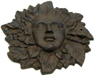 "Woman Leaf Face Wall Sculpture Decor Solid Cast Iron 11"" Tall 0170-05653"