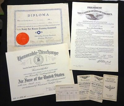 WWII Aviator's Documents - Army Air Force, including Pilot's Kneeboard + Docs