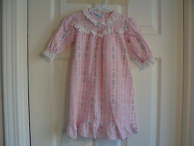 Vtg LANZ OF SALZBURG Pink Flower & Heart Nightgown Gown Pajama Toddler Doll Girl