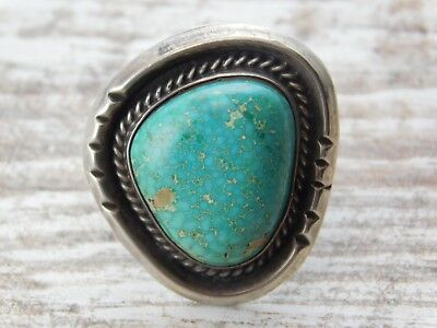 Vtg OLD Pawn NAVAJO STURDY Sterling SILVER RING UNIQUE Spiderweb TURQUOISE