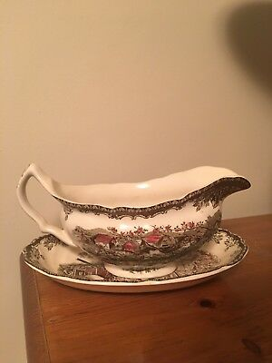Johnson Brothers THE FRIENDLY VILLAGE Gravy Boat w/ Under plate Made in England
