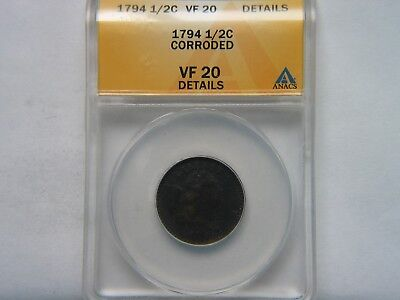 1794 1/2C ANACS VF 20 Detail Corroded Rare Key Date Half Cent