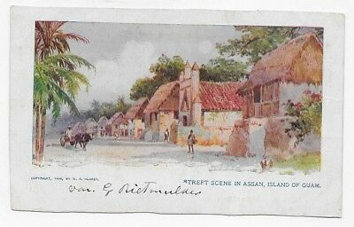 1905 ASAN GUAM Pretty STREET SCENE IN TROPICAL ASAN Unposted Post Card #2297