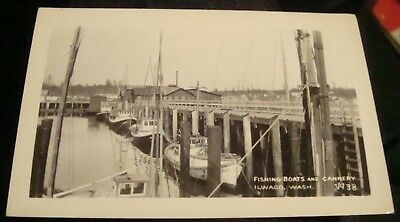 vintage ilwaco wahington, rppc, b&w, fishing boats, cannery, w38 unposted