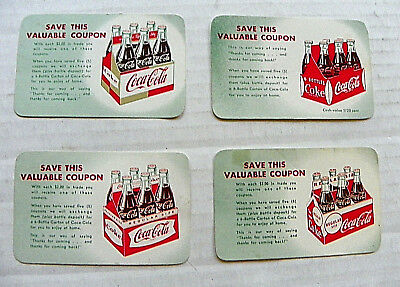 "(LOT OF 4) 1960's ""COCA-COLA~ SAVE THIS VALUABLE COUPON"" WITH DIFFERENT CARRIERS"