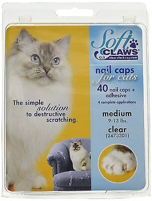 Soft Claws Nail Caps for Cats Clear Size Medium 9-13lbs