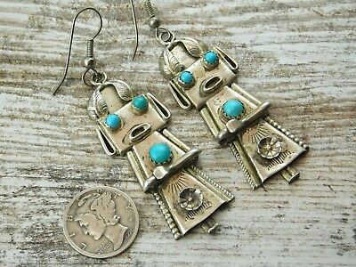 Vtg Old Pawn NAVAJO TURQUOISE STERLING Silver KACHINA Dangle EARRINGS