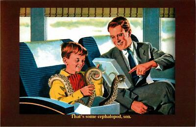 That's Some Cephalopod Son - Octopus in Train - Ken Brown Postcard