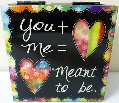 """Square Jewellery/trinket Box """"you + Me"""" + Free Heart In Bag Valentine's Gift"""