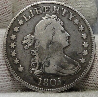 1805 Draped Bust Quarter 25 Cents -  Key Date, Nice Coin, Free Shipping. (7251)