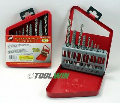 10 pc Screw Extractor Right Hand Cobalt Drill Bit Set Broken Bolt Easy Out