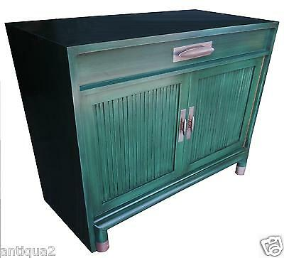 Tommi Partzinger Era Swanky Green Lacquer Mid Century Asian Modern Entry Cabinet