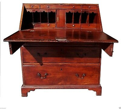 PERIOD ENGLISH GEORGIAN ca 1700S MAHOGANY CHIPPENDALE DROP FRONT SECRETARY DESK