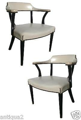 Pair Mid-Century Style Faux Leather Upholstered Nailhead Lacquer Dining Chairs