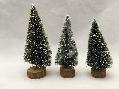 """Lot of 3 Vintage 5"""" """"Snow"""" Bottle Brush Christmas Trees on Wood Stand"""