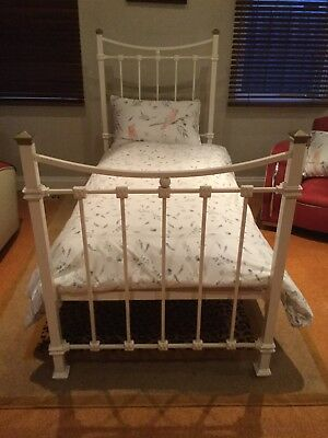 Classic Ivory Iron Bed With Brass Finishings