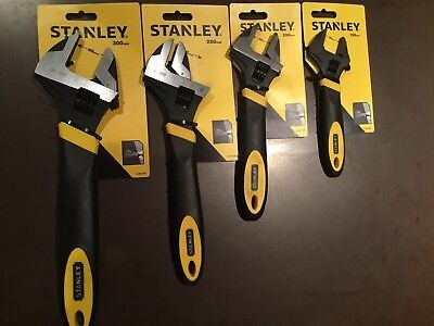 STANLEY MAXSTEEL ADJUSTABLE SPANNER WRENCH SET Of 4. 300, 250, 200, 150mm NEW