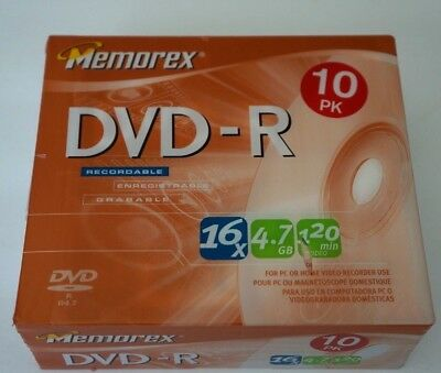 MEMOREX Brand NEW Factory Sealed 10 Pack DVD-R 16x 4.7 GB 120 Min + Slim Cases