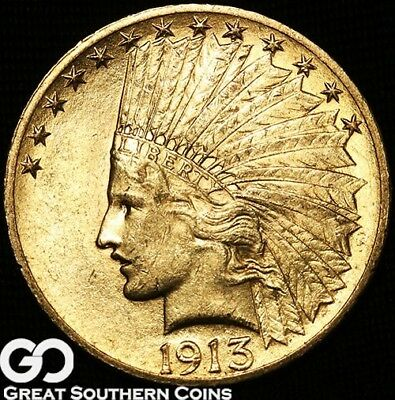 1913 Gold Eagle, $10 Gold Indian, Very Nice Gem BU++ ** Free Shipping!