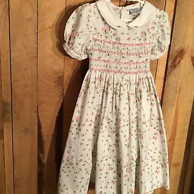 Vintage Friedknit Creations Floral Smocked Lined Dress 6 Y