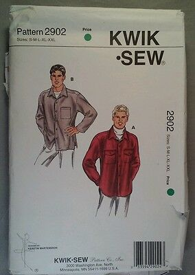 Kwik Sew 2902 Men's sewing pattern size S-XXL Button Front Shirt  Cut to SMALL